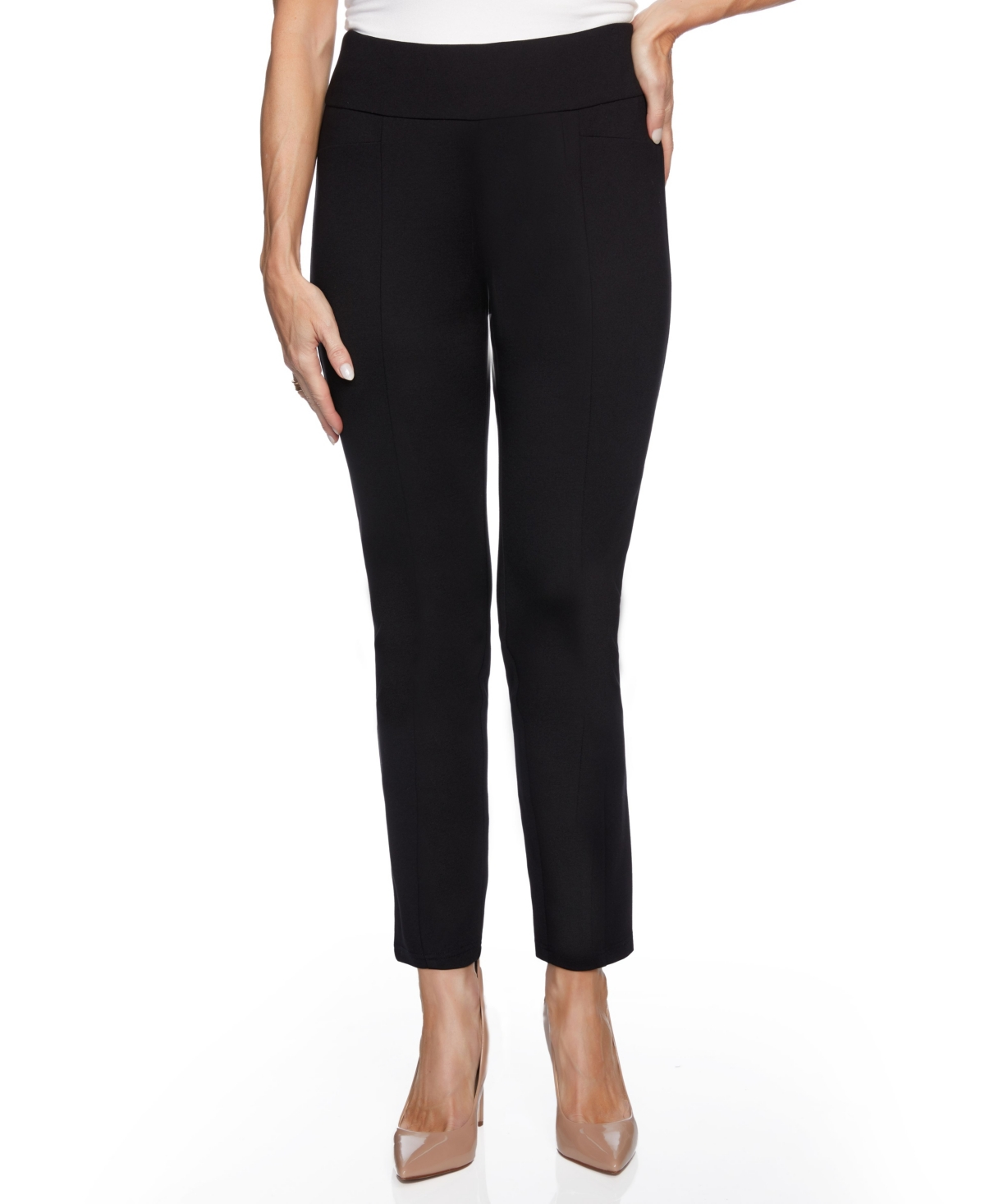 Women's High Waist Slim Ponte with Wide Waistband Pants