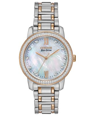 Citizen Women's Eco-Drive Two-Tone Stainless Steel Bracelet Watch 35mm EM0116-55D - A Macy's Exclusive