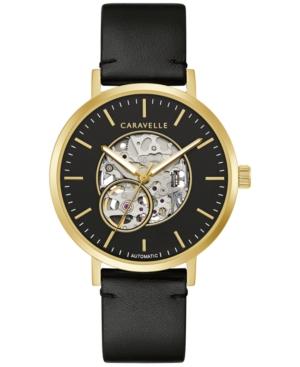 Designed by Bulova Men's Automatic Black Leather Strap Watch 39.5mm