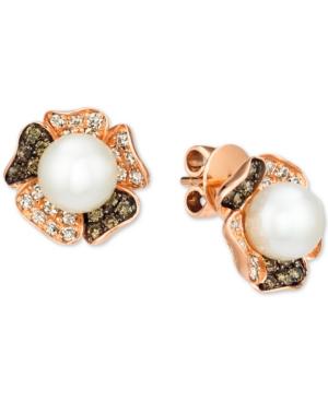 Vanilla Pearl (7mm) & Diamond (5/8 ct. t.w.) Flower Stud Earrings in 14k Rose Gold