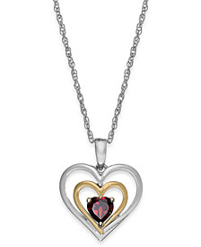 Garnet Heart Pendant Necklace in 14k Gold and Sterling Silver (5/8 ct. t.w.)