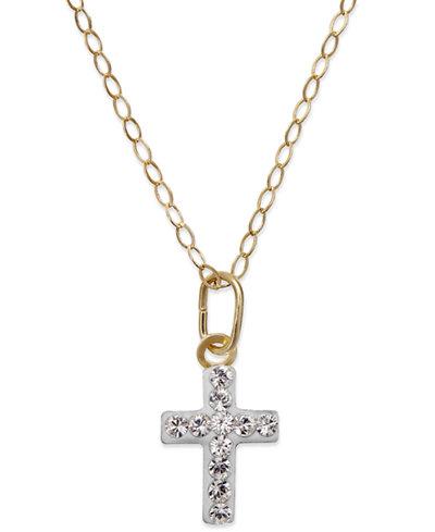 Children's Swarovski Crystal Cross Pendant Necklace in 14K Gold