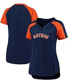 Plus Size Navy, Orange Houston Astros Iconic League Diva Raglan V-Neck T-shirt