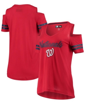 Women's Red Washington Nationals Extra Inning Cold Shoulder T-shirt
