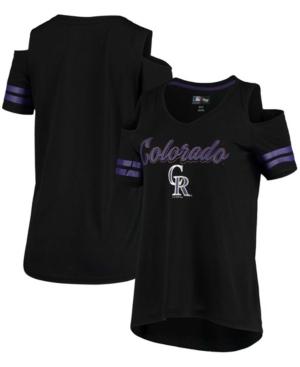 Women's Black Colorado Rockies Extra Inning Cold Shoulder V-Neck T-shirt