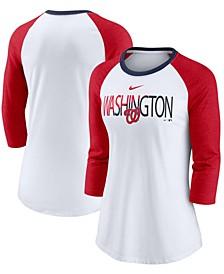 Women's White, Heathered Red Washington Nationals Color Split Tri-Blend 3/4 Sleeve Raglan T-shirt