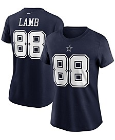 Women's Ceedee Lamb Navy Dallas Cowboys Name Number T-shirt