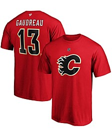 Men's Johnny Gaudreau Red Calgary Flames Team Authentic Stack Name and Number T-shirt