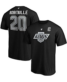 Men's Luc Robitaille Black Los Angeles Kings Authentic Stack Retired Player Name and Number T-shirt