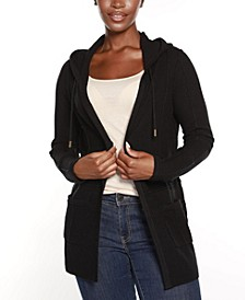 Black Label Hooded Open Front Cardigan