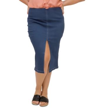 Plus Size Slit Front Denim Skirt