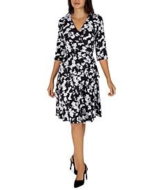 Petite Floral-Print 3/4-Sleeve Ruffled Faux-Wrap Dress