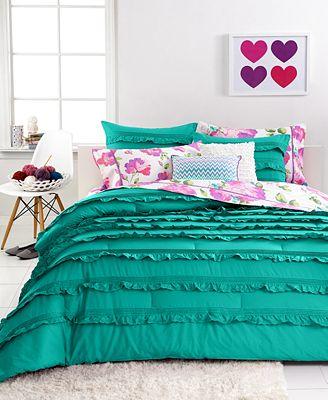 closeout! seventeen bedding eva eyelet teal 3 piece comforter sets