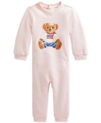 폴로 랄프로렌 Polo Ralph Lauren Baby Girls Polo Bear Fleece Coverall,Delicate Pink