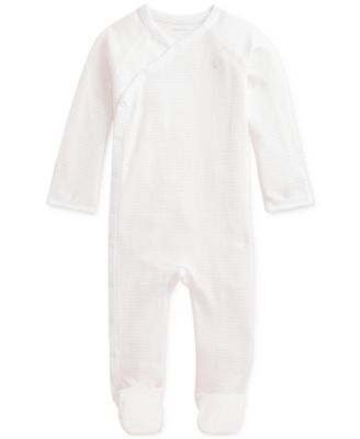 폴로 랄프로렌 Polo Ralph Lauren Baby Girls Striped Cotton Interlock Coverall,Delicate Pink/white