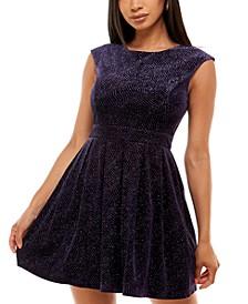 Juniors' Glitter Velvet Fit & Flare Dress