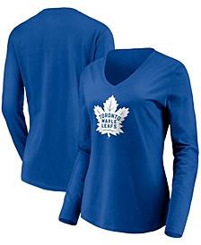 Women's Blue Toronto Maple Leafs Primary Team Logo Long Sleeve V-Neck T-shirt