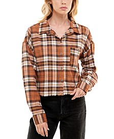 Juniors' Frayed Plaid Shirt