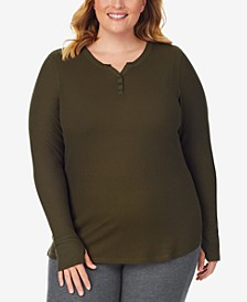 Plus Size Stretch Thermal Henley Top