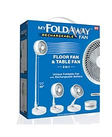 2-in-1 Adjustable Height Unique Foldaway Portable My Foldaway Rechargeable Floor Table Fan