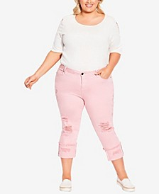 Plus Size Embroidered Turn Up Capri