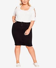 Plus Size Denim Stretch Skirt