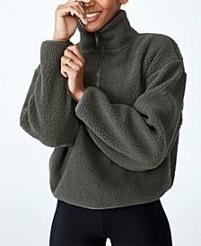 Women's Crop Sherpa Half Zip Sweater