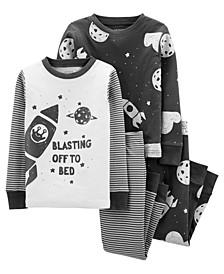 Toddler Boys Space Snug Fit Cotton Pajama, 4 Piece Set