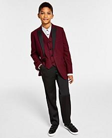Mini Dot Jacquard Jacket, Mini Dot Jacquard Vest, Slim-Fit Shirt & Satin Pants Suit Separates