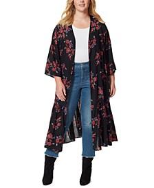 Plus Size Printed Leilani Tiered Kimono Jacket