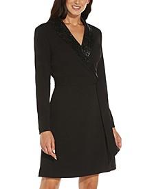 Sequin-Trim Tuxedo Dress