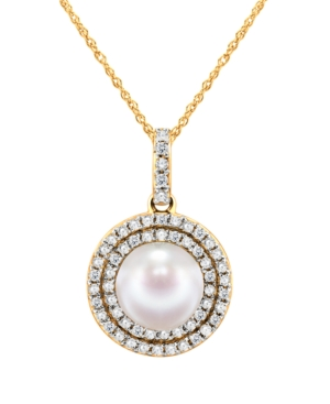 """Cultured Freshwater Pearl 7-7.5mm and Diamond 1/4 ct. tw. Pendant 18"""" Necklace."""