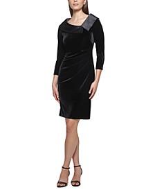 Velvet Notched-Collar Dress