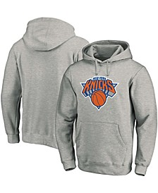 Men's Heathered Gray New York Knicks Team Primary Logo Pullover Hoodie
