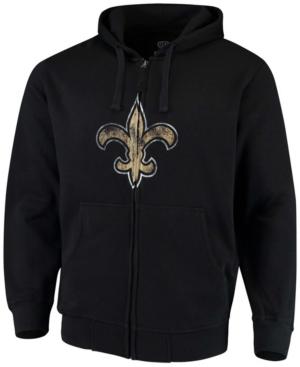 Men's Big and Tall Black New Orleans Saints Primary Logo Full-Zip Hoodie