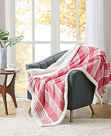 """Plaid Reversible Classic Sherpa Throw, 50"""" x 60"""", Created for Macy's"""