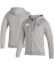 Men's Heathered Gray Chicago Blackhawks 3-Stripe Tape Full-Zip Track Jacket