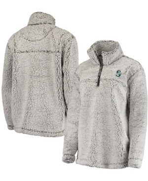 Women's Gray Seattle Mariners Sherpa Quarter-Zip Pullover Jacket