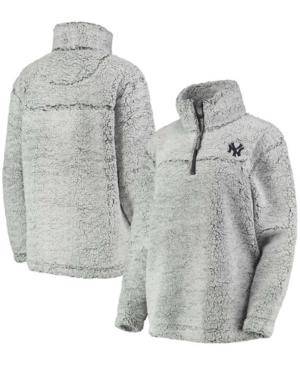 Women's Gray New York Yankees Sherpa Quarter-Zip Pullover Jacket