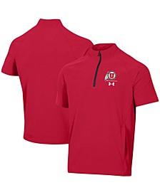 Men's Red Utah Utes Squad Coaches Short Sleeve Raglan Quarter-Zip Jacket