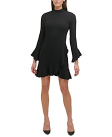 Mock Neck Ruffled Dress
