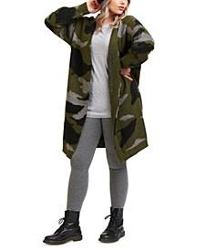 Plus Trendy Open Front Camo Cardigan
