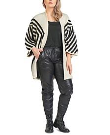 Plus Trendy Striped Kimono-Sleeve Cardigan