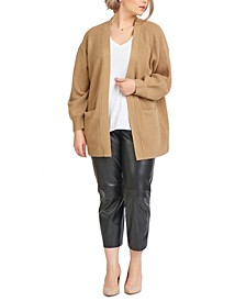 Plus Trendy Ribbed Open-Front Cardigan
