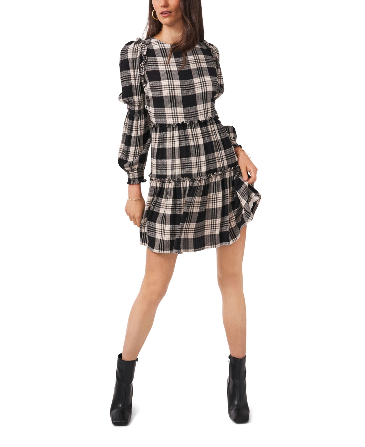 1.state Smock Detail Long Sleeve Tiered Short Dress