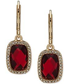 Gold-Tone Red Stone Drop Earrings
