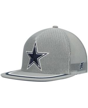 Men's Gray Dallas Cowboys Stripe Mesh Trucker Snapback Hat