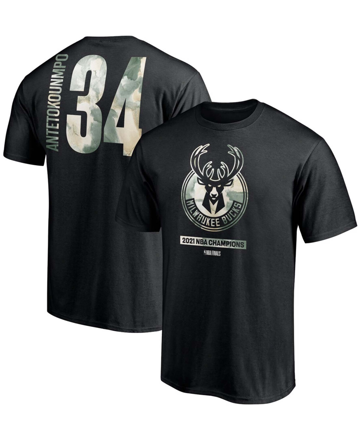 Men's Giannis Antetokounmpo Black Milwaukee Bucks 2021 Nba Finals Champions Believe in The Game Name Number T-shirt