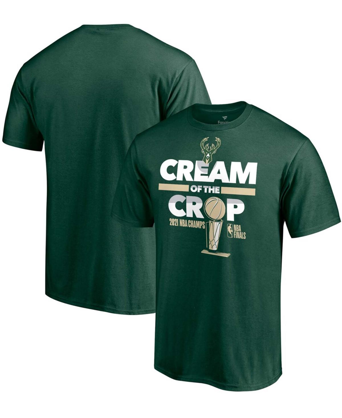 Men's Hunter Green Milwaukee Bucks 2021 Nba Finals Champions Hometown Collection Cream Of The Crop T-shirt