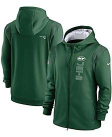 Men's Green New York Jets Sideline Team Performance Full-Zip Hoodie